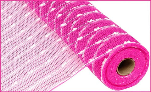 "21""X10YD METALLIC COTTON BALL MESH HOT PINK/WHITE"