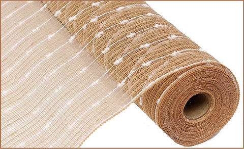 "21""X10YD COTTON BALL/POLY/JUTE MESH NATURAL/WHITE"