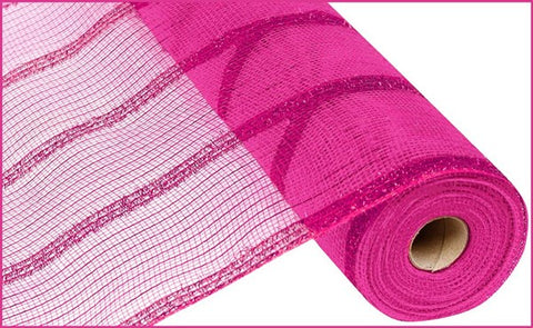 "21""X10YD WIDE TINSEL/PP/FOIL MESH HOT PINK"