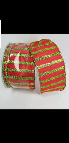 CABANA STRIPE RED/LIME GLITTER 1.5x20