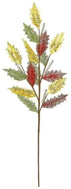 "GLITTER MESH HOLLY LEAF SPRAY, 43""; GREEN/RED/GOLD, 43 IN."