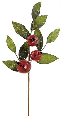 "GLITTERED POMEGRANATE & LEAF SPRAY x3, 26""; RED/GREEN 26 IN."