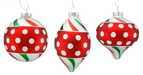 "5.5"" GLASS POLKA DOT SWIRL ORNAMENT"