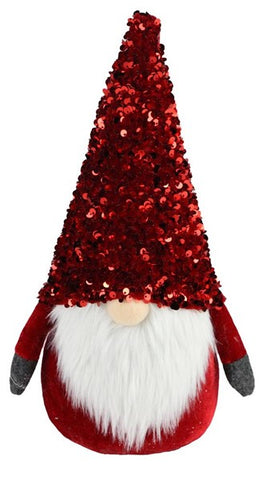 "12.25""H Sequin/Fabric Gnome Red"