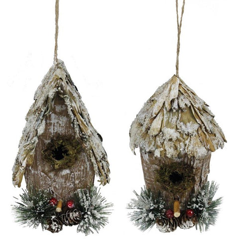 "2 Asst 6.76""H Iced Bird House Ornament"