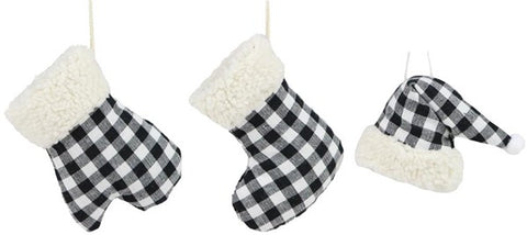 "3 Asst 3.75""H Check Hat/Stocking/Mitten black/white"