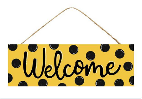 "15""L X 5""H Welcome Yellow W/Dots Sign"