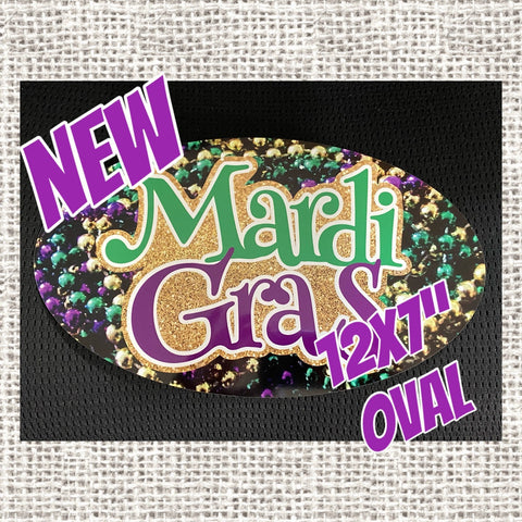 "MARDI GRAS 12x7"" Oval wreath sign, Let The Good Times Roll Mardi Gras sign with gorgeous bead background"
