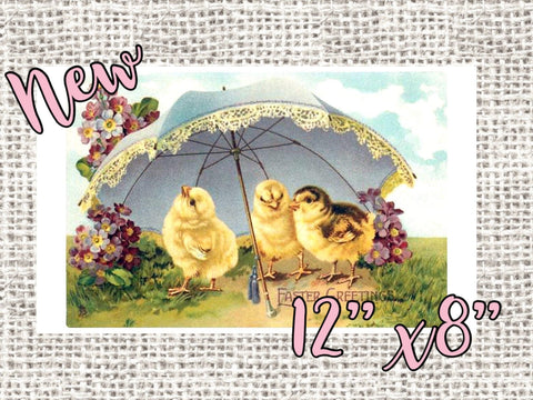 "Vintage Easter chicks with umbrella 12x8"" Rectangle wreath sign, vintage Easter sign"