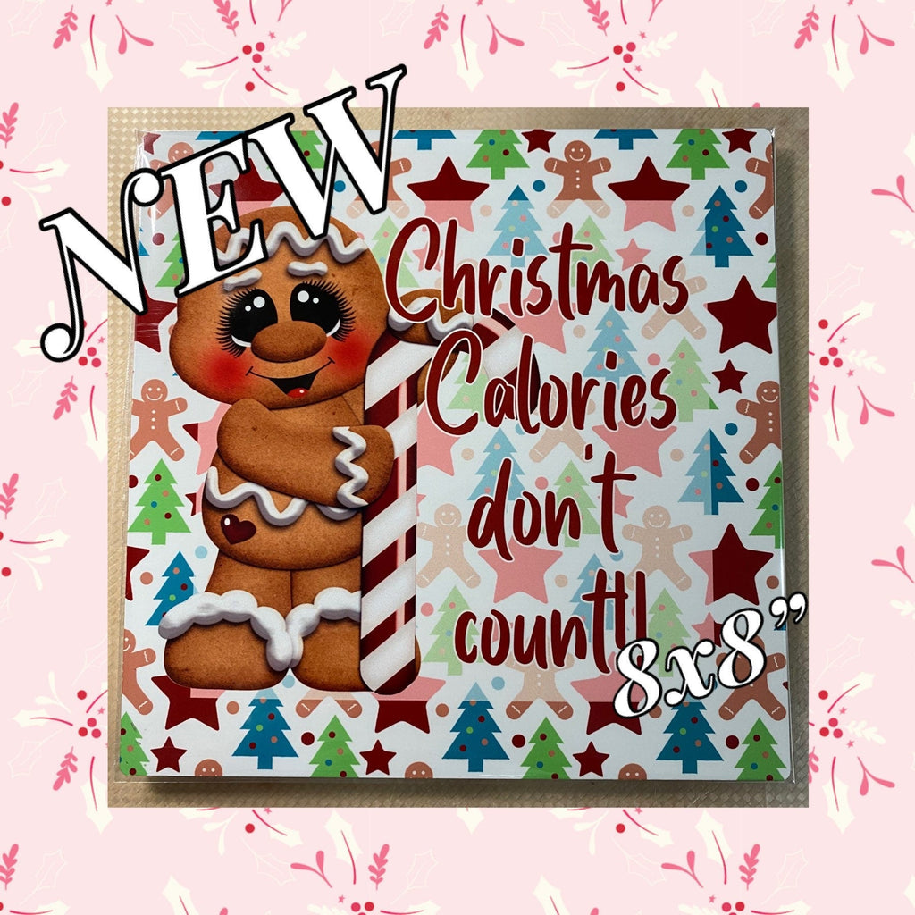 Gingerbread Wreath Sign Christmas Calories Gingerbread Christmas Calories Wreath Sign Wreath Attachment 8x12 Wreath Sign