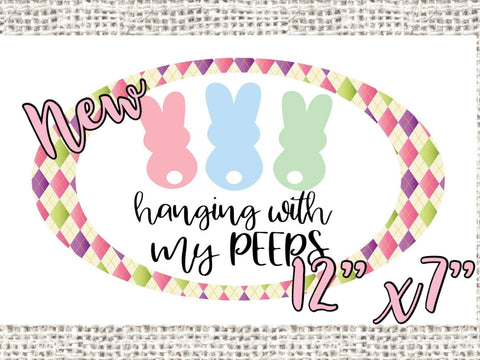 "Easter Hanging with my Peeps 12x7"" Oval wreath sign, Pastel argyle Easter sign"