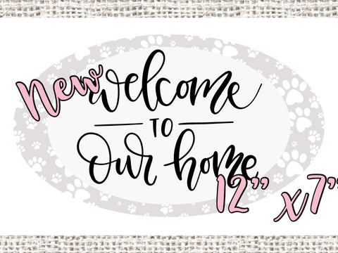 "Grey with white Paw Prints Welcome 12x7"" Oval wreath sign, Welcome to our Home sign"