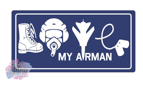 AIR FORCE Love My Airman 12x6 Metal Sign