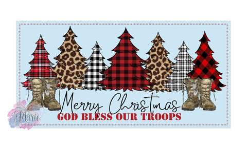 Merry Christmas God Bless our Troops 12x6 Metal Sign