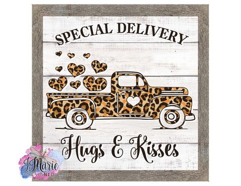 "Special Delivery Vintage Truck • Valentines Day • 8"" Square Sign • Cheetah Print"