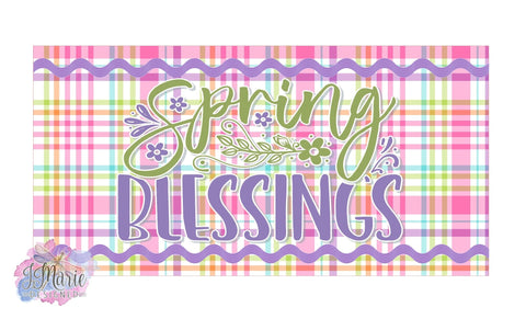 "Spring Blessings Plaid with Ric Rac 12x6"" Metal Sign"