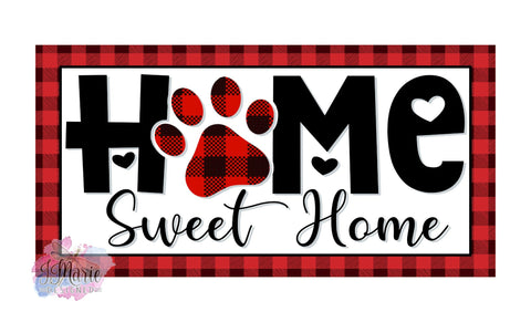 "Home Sweet Home Paw Print Red Buffalo Plaid 12x6"" Metal Sign"