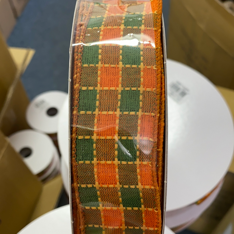 1.5 X 50Y FALL CHECKERD DASH PLAID ORANGE/GREEN