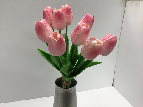 PINK REAL FEEL TULIP X9 STEM