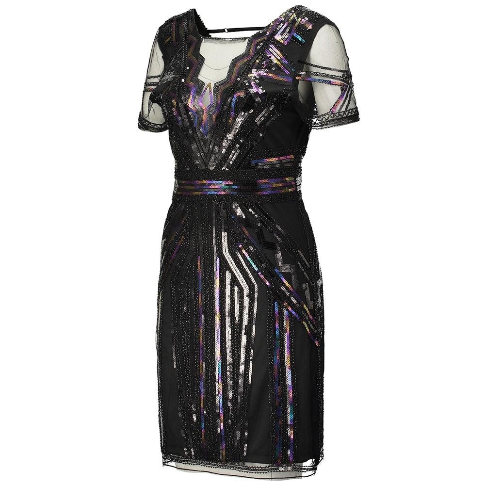 6bf41522 ... Load image into Gallery viewer, 1920s Art Deco Great Gatsby Sequin Dress  ...
