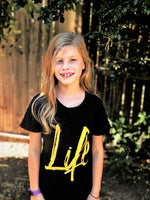 Life Tee -girls tween and teen black streetwear casual tshirt