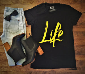 Black Life Tee - urban style with jeans and boots