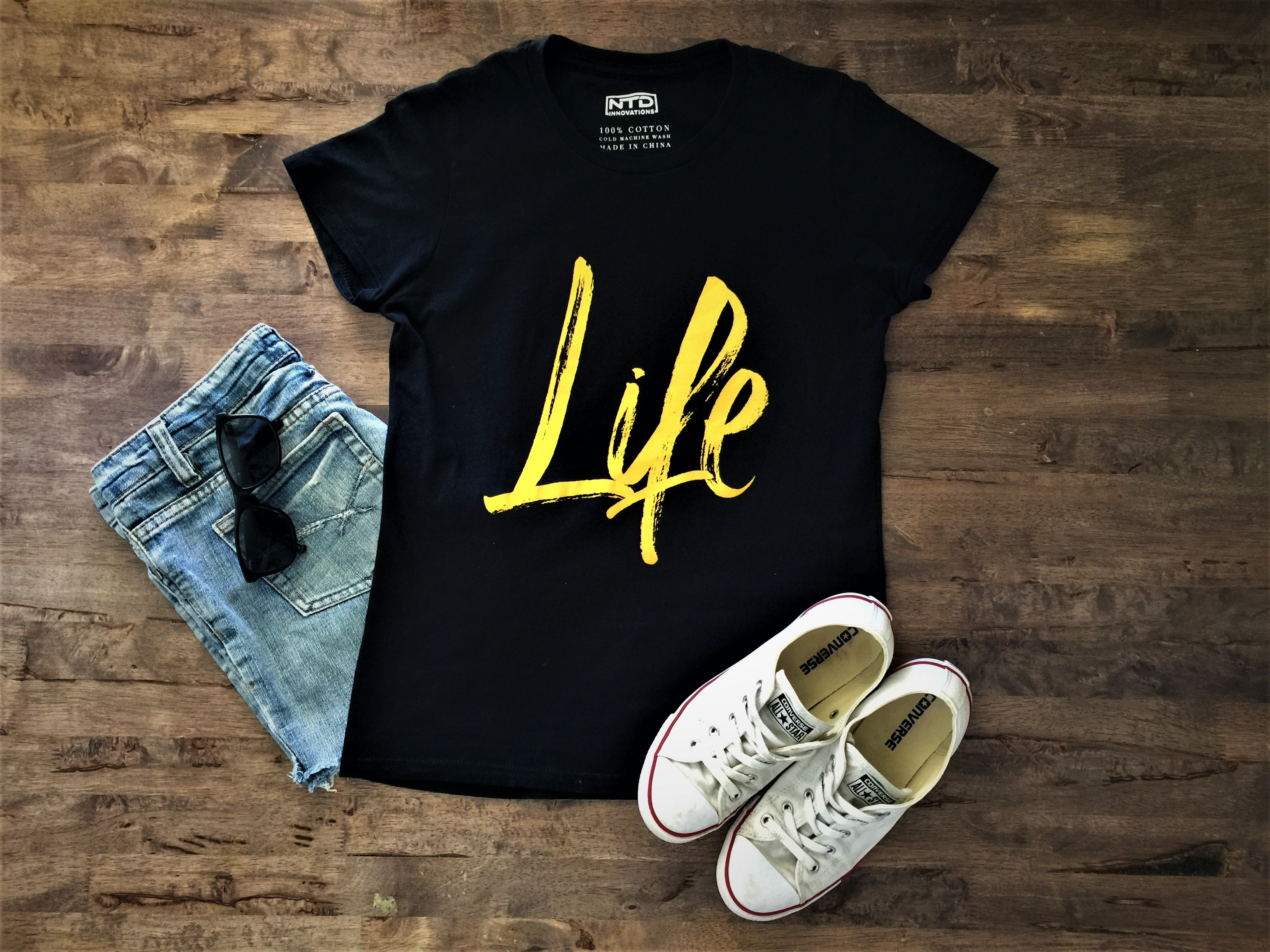 Life tshirt - Ladies black with yellow typography streetwear casual tshirt styled with converse, sunnies shorts