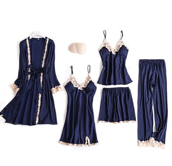 JULY'S SONG 5 Pieces Pajamas Set Sexy Lace Satin Silk Sleepwear Women Summer Spring Fashion Pajamas for Women Robe Sleep Lounge