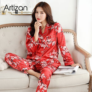 Satin Silk Pajamas for Women's Set pyjamas Button Pigiama Donna pjs Winter Mujer Pijama Sleepwear Nightwear Pizama Damska 2Pcs