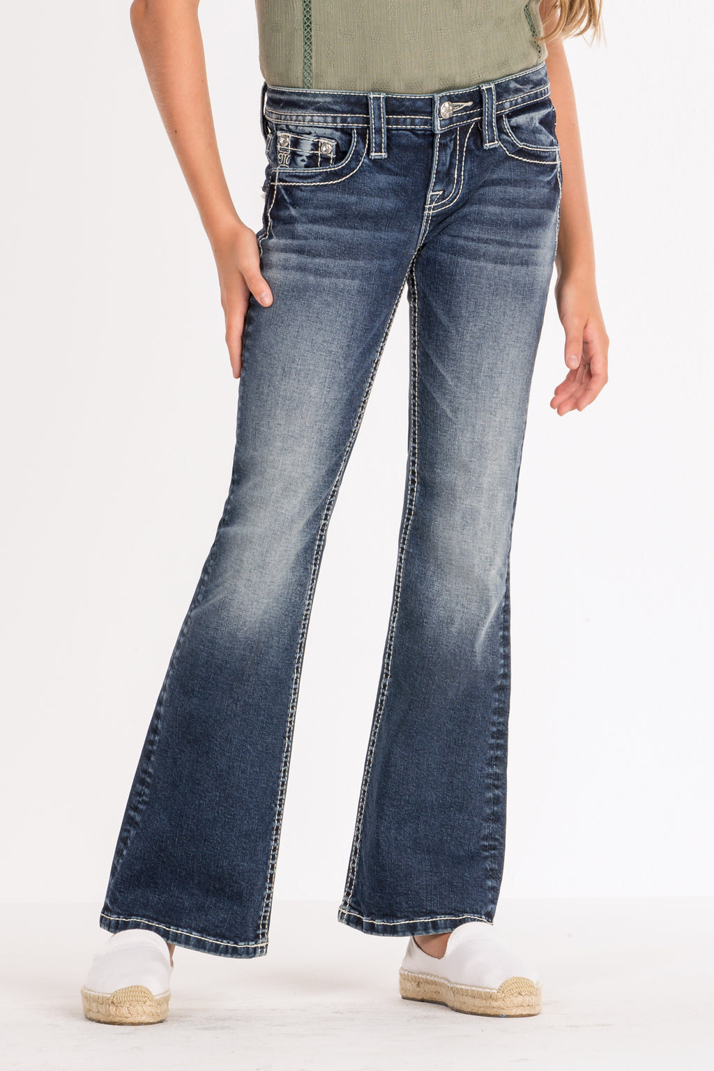 54abceee0a0 GIRLS FRILLY AND FLIRTY BOOTCUT JEANS - front