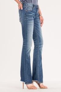 CROPPED HEM MID RISE BOOT CUT JEAN