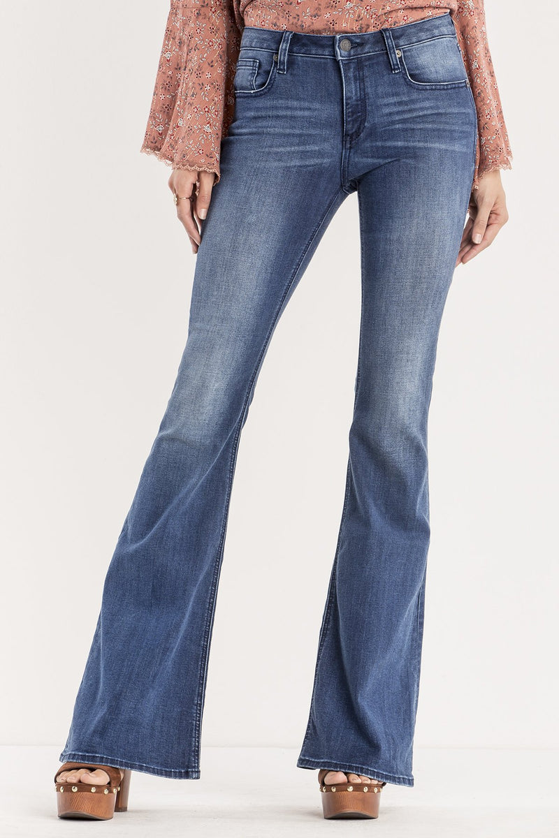 SWEEPING BEAUTY MID-RISE FLARE JEANS