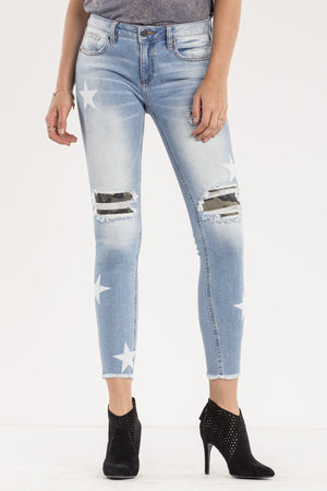 AT ATTENTION MID-RISE ANKLE SKINNY JEANS
