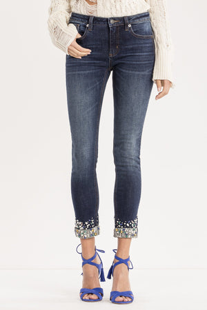 CUFF IT OUT MID-RISE ANKLE SKINNY JEANS