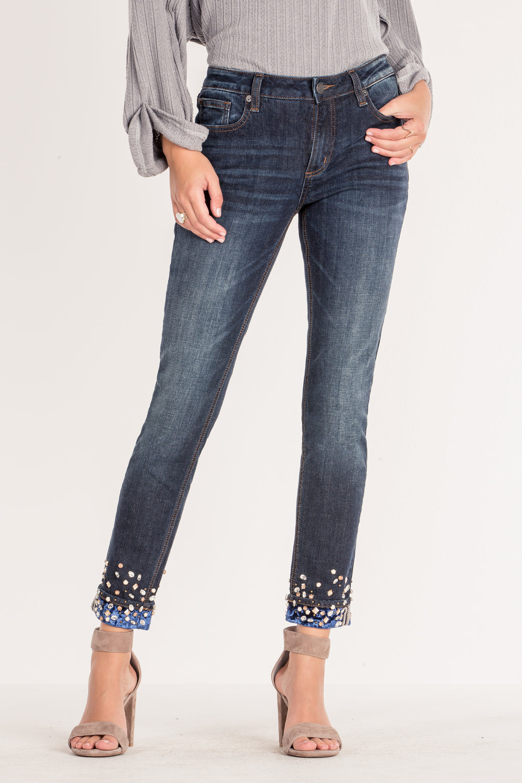 db10f42172630 BLUE VELVET CUFFED ANKLE SKINNY JEANS