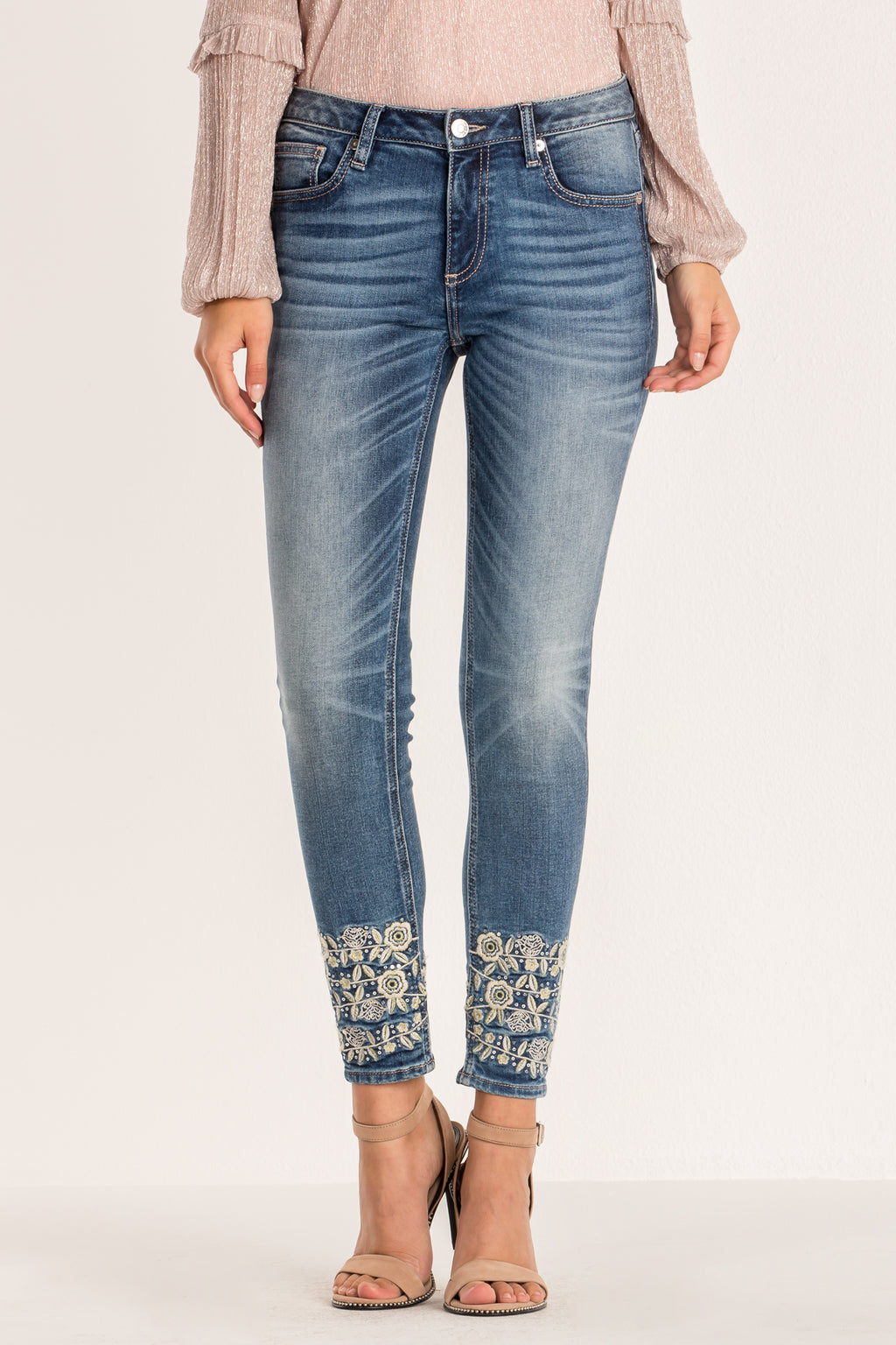 aa25e084752bb FLORAL WHIMSY MID RISE ANKLE SKINNY JEANS