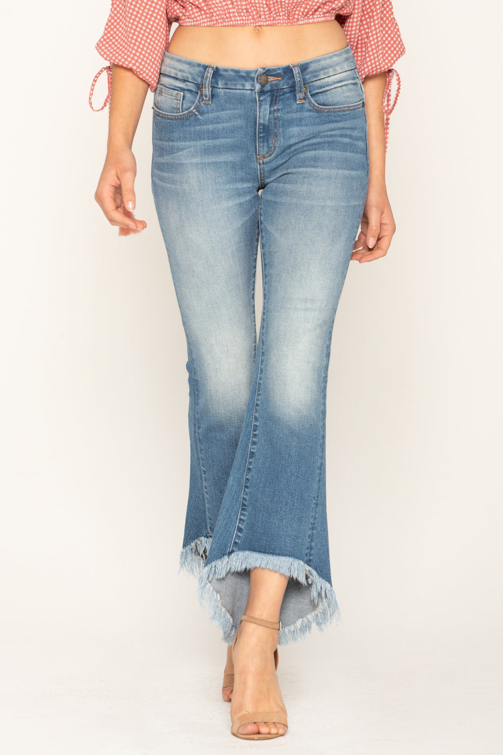 a7c8ec50122 LIVING IN PARADISE CROP FLARE JEANS