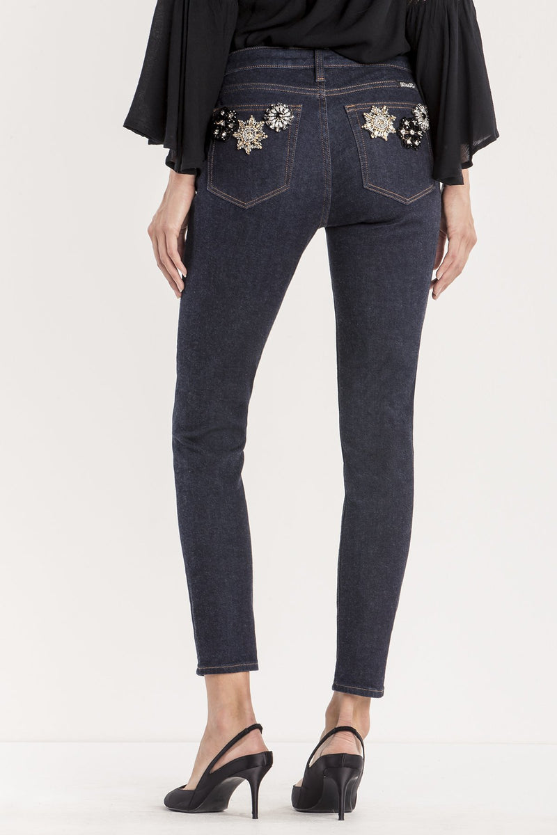GLIMMER AND GO MID-RISE ANKLE SKINNY JEANS