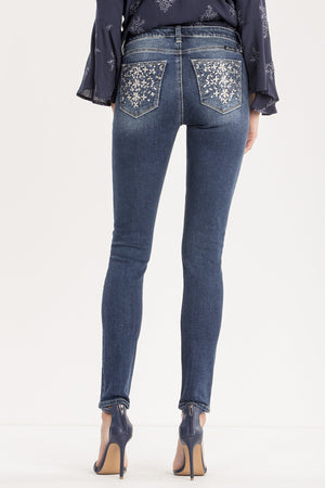 ALL THAT SPARKLES MID-RISE SKINNY JEANS