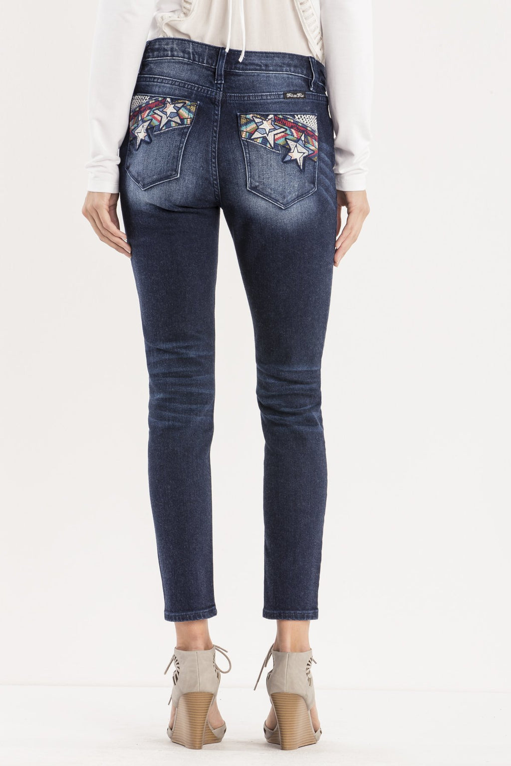 SHOOTING STARS MID-RISE ANKLE SKINNY JEANS