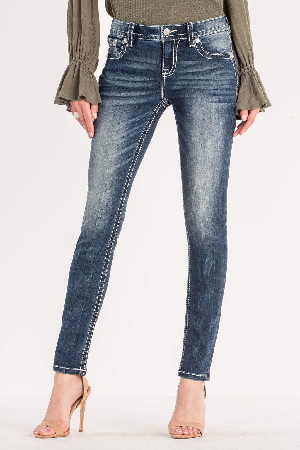 08fa8b0c23ce8 EMBROIDERED MID-RISE SKINNY JEANS - front