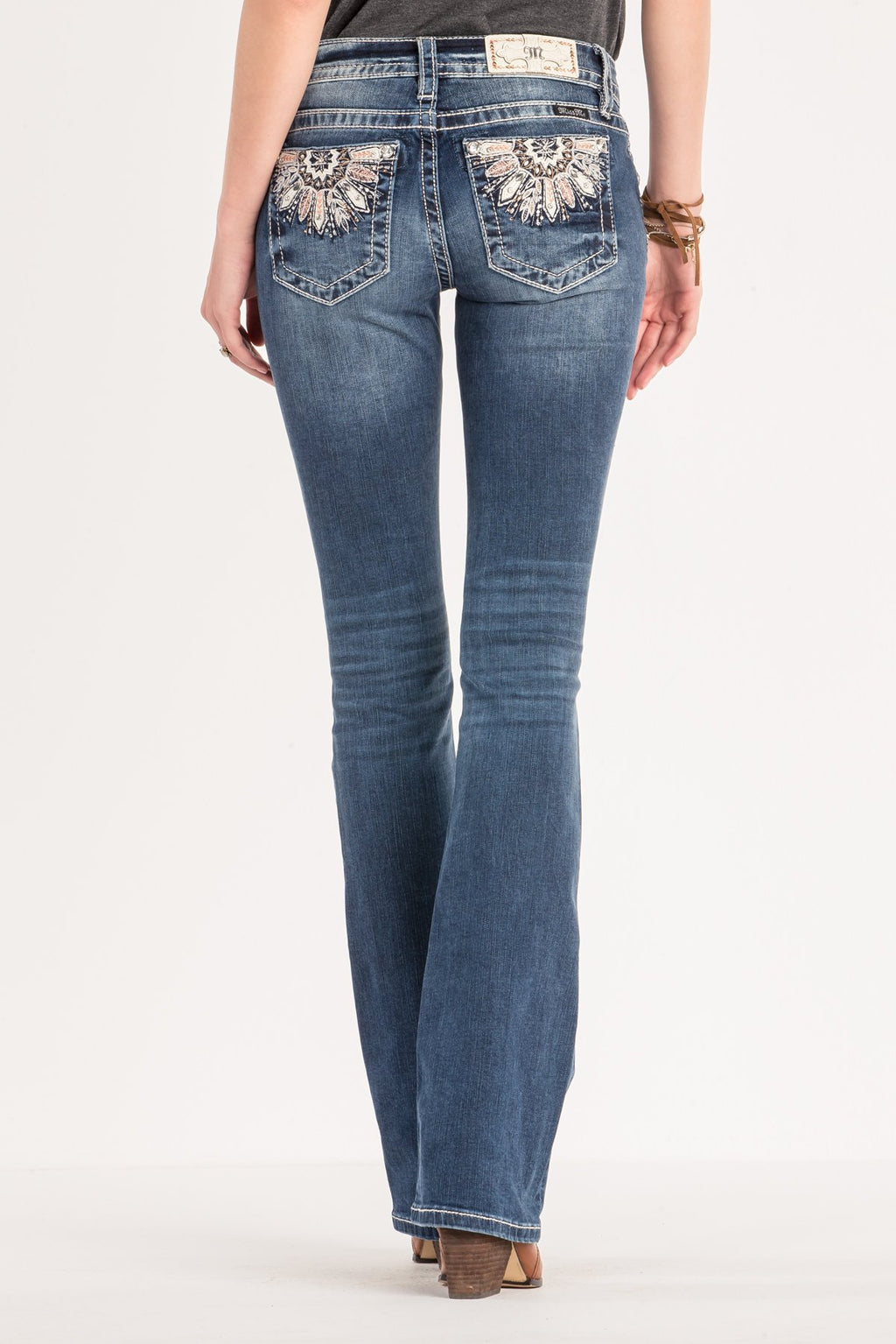 8d02d5ae08f FEATHER EMBROIDERED MID-RISE BOOTCUT JEANS - back