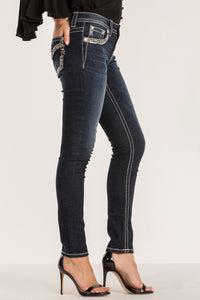 FLOURISH BORDER ANKLE SKINNY JEANS