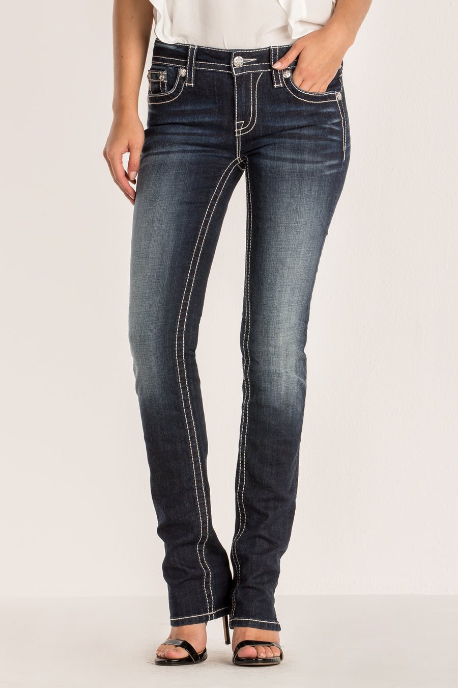 STITCHED UP STRAIGHT LEG JEAN