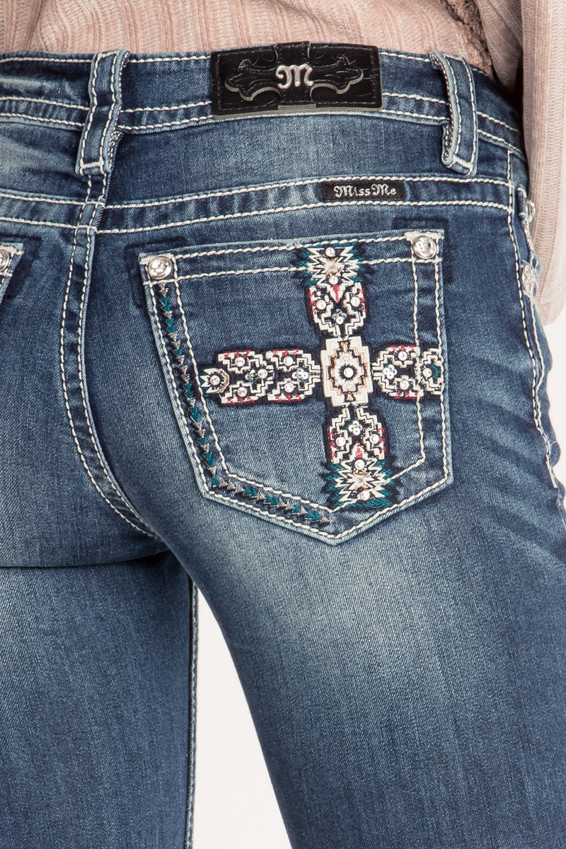 AZTEC INSPIRED MID-RISE BOOTCUT JEANS