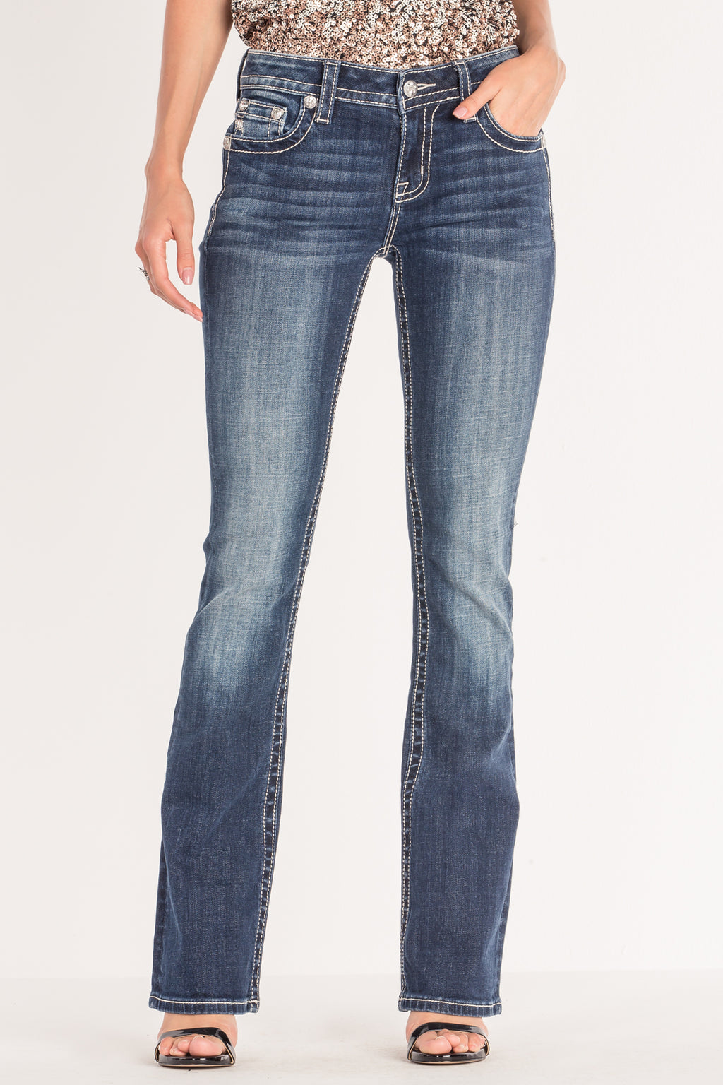 5f2b8d471a TRIBAL INSPIRED EMBROIDERED BOOTCUT JEANS - front