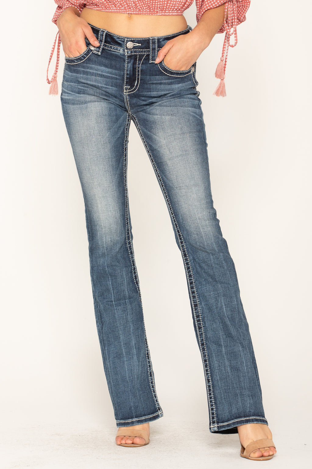 59c7a13afa8835 ALLURING ROMANCE BOOTCUT JEANS - front