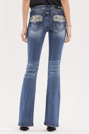 PERFECT PAISLEY MID-RISE BOOTCUT JEANS