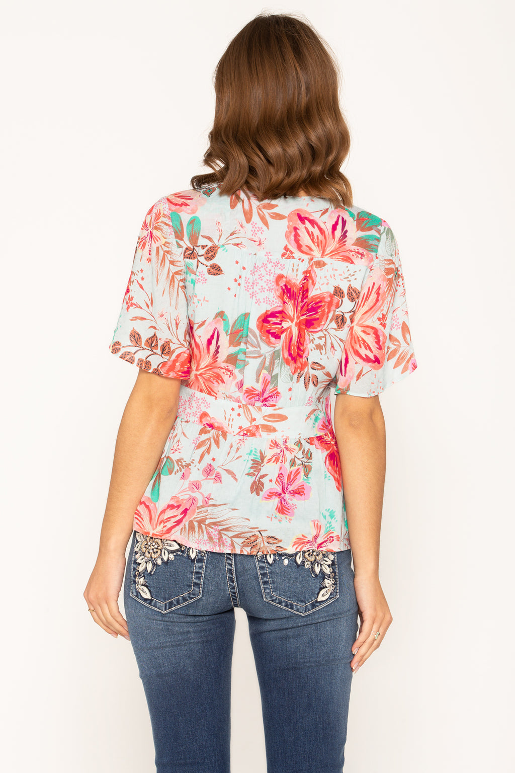 68a010a729c6e FLORAL VACATION EMPIRE WAIST TOP - back