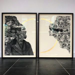 'Frontiers' diptych, with gold leaf